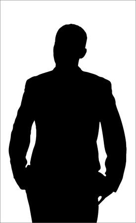 Molesta silueta de hombre aislado en un fondo blanco.