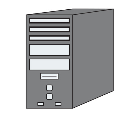 PC Computer Tower Vector Icon Illustration on a white background.