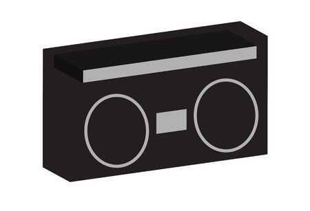 Old School Boom Box Ghetto Blaster Cassette Radio with large speakers. Stock Illustratie