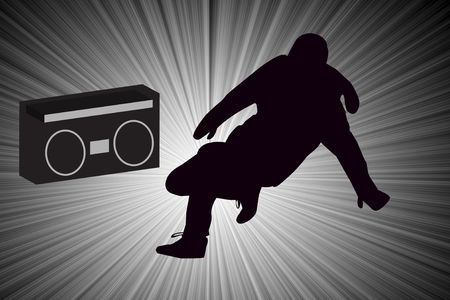 boom box: Breakdancer Dancing with Old School Boom Box Silhouette illustration.   Stock Photo