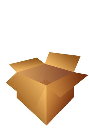 Open Cardboard Shipping Box Illustration Isolated on a White Background. illustration
