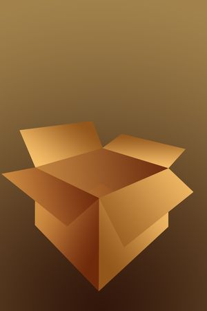 Open  Empty Cardboard Shipping Box Illustration Isolated on a Brown Background. 版權商用圖片
