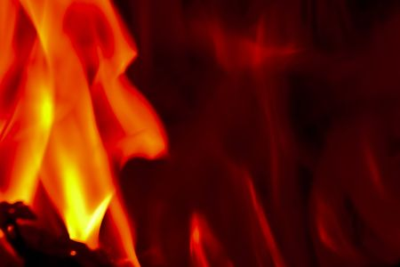 Flames Fire of Hell against a black background. Stock Photo - 6686119