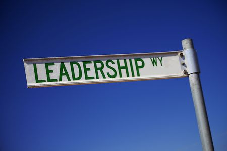 team leadership: A street sign directing to the Leadership way Stock Photo