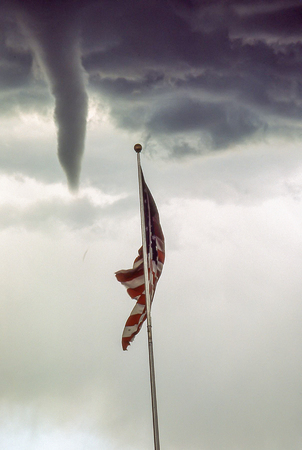Tornado and Tattered American Flag 版權商用圖片