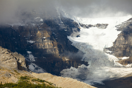 icefield: athabasca glacier with clouds
