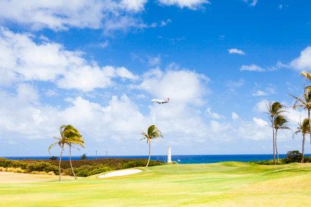 June 2012: Kawaii Island and Hawaiian Airlines plane is landing Editorial