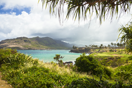 hawaii kawaii with sun bay view Stok Fotoğraf