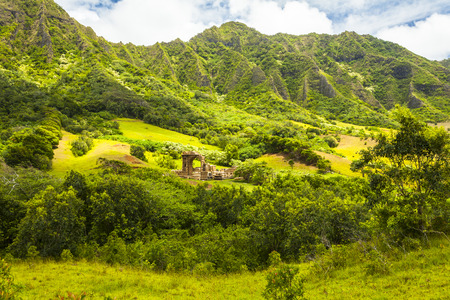 hawaii oahu has awa valley location films kualo ranch Banco de Imagens