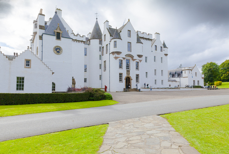 Blair Atholl August 2014: this castle is located in the Perthshire and the tourists in summer love to visit it for the unique architecture and its white color