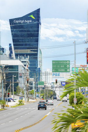 Panama City August 2017: In August tourists visit this part of the citys pulsating heart of the countrys economy because it is full of trade shops and great restaurants