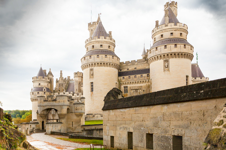 Pierrefond  September 2012 - In September tourists visit this historic castle to admire the luxurious architecture and the amazing panorama. This is the main entrance of the castle.