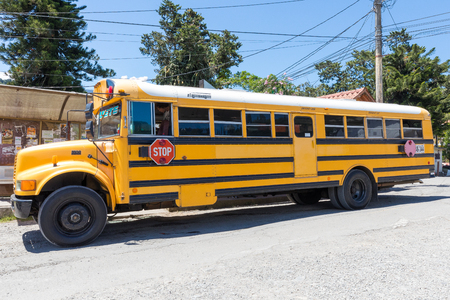 boquete panama October 2017: in October the buses called diablo guarantee the connection between David and Boquete every 20 minutes to maintain constant connection with David's central station from which direct buses run across Panama Banco de Imagens - 87827159