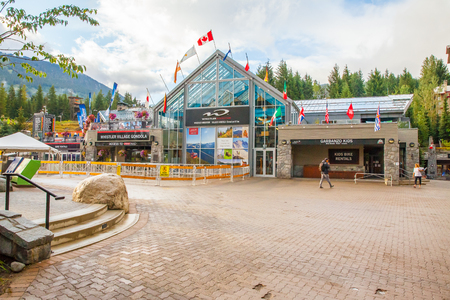 Whistler  August 2015 This is the station of the Whistler gondola  that connect the Whistler Peak to the Blackcomb Peak. A lot of sightseers, skiers and snowboarders use it in this period to enjoy the wonderful panorama. Editorial