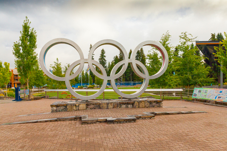 Whistler August 2015 In this month a lot of tourist take picture at this sculpure because it represent XXI Olympic Winter Games took place in Whistler from 12 to 28 February 2010 Editorial