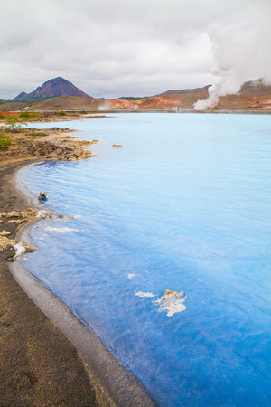 lake with geothermal activity near lake myvatn