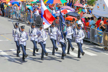 Boquete Panama November 2017 this is a month of great celebrations in Panama. These soldiers are marching with bayonets in great parades to celebrate the Panama Indipendence day from Spain. Editorial
