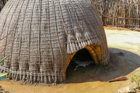 Swazi tribe hut in Swaziland entrance close up south africa