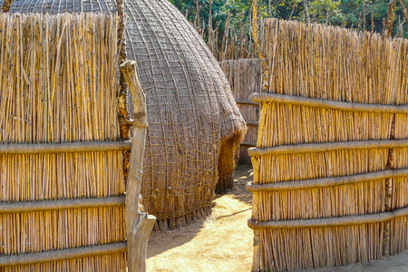 Swazi tribe hut in Swaziland entrance south africa