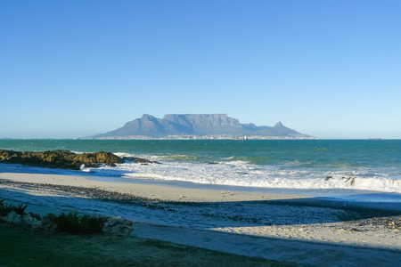 Cape Town and Table Mountain view from the sea Stock Photo