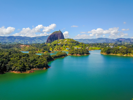 aerial panoramic view of Penol lake and the famous homonym stone Guatape Colombia