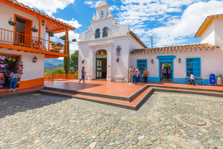 January 2018 Medellin This is the church of Our Lady of Candelaria in Medellin built on a hill in Paisa Village and known for its colonial white facade.