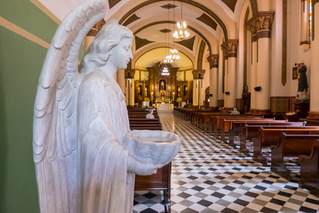 Medellin Colombia January 2018 In this period tourists admire the interior of the church of San Jose in the center of Medellin to know its baroque style