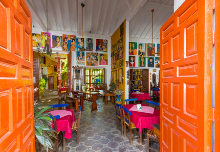 January 2018 This is the entrance of the oldest restaurants in Santa Fe appreciated by tourists for the paintings of many local artists.