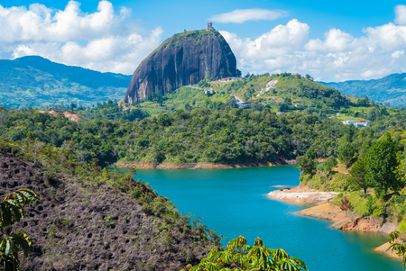 panoramic view of the stone and the lake of the Penol Colombia