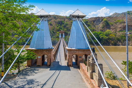 Santa Fe Januray 2018 This is the Western Bridge in Santa Fe built by Jose Villa in 1887. It is a suspension bridge that even today is crossed by cars and pedestrians Editorial