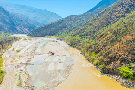 works of arrangement of the bed of the river Chicamocha Colombia in the sunny day Stock Photo