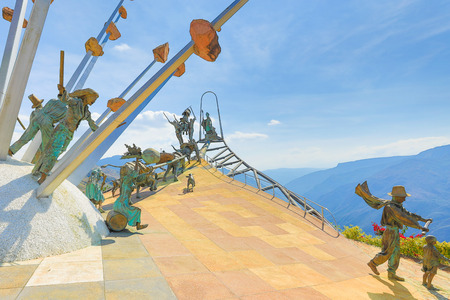 February 2018 Chicamocha Canyon This is a detail of the monument to Santanderan culture built in 2005 in Chicamocha National Park, Colombia. Its offers 360 degree views, and its life size figures tell the story of the revolt against the Spanish domain.