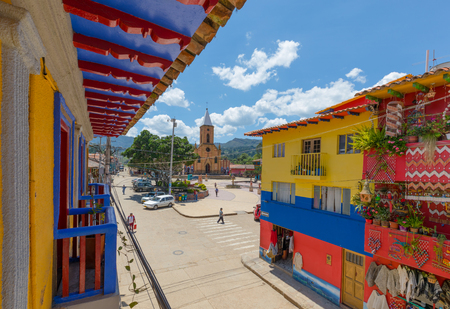 Raquira February 2018 From the terraces of Raquira in Colombia people can enjoy an original view of the streets with colored houses  and of Main square