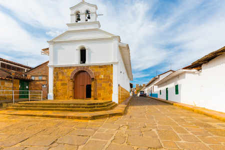 February 2018 This is the Chapel of Barichara built in 1400 and  visited by many tourists for its colonial style and great location. Stock Photo