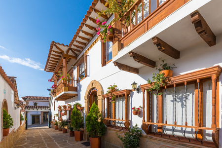 floral decorations on the colonial houses of Villa de Leyva Colombia