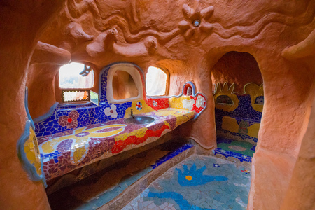 February 2018 This is one of the bathrooms of the terracotta house in Villa de Leyva Colombia visited every day by many tourists intrigued by its original structure. Stock Photo