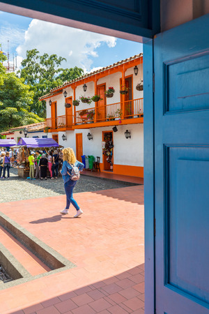 February 2018 Medellin This typical Colombian colonial village has been built on top of Nutibara hill in Medellin, attracting many tourists for its typicality