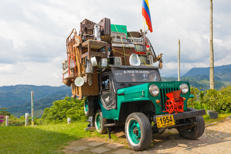 Salento March 2018 This Willys Jeep of the 60s is used by Colombian who live in the coffee production area to transport their belongings from one place to another 報道画像