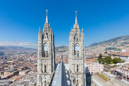 Quito April 2018  the Basilica of Quito is the largest church in the city, where construction work is not yet completed. Roof view.
