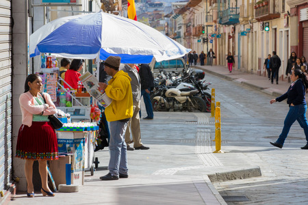 Ecuador June 2018 Detail of a soda s stall on a street of Cuenca, where play lottery while drinking something. Sajtókép