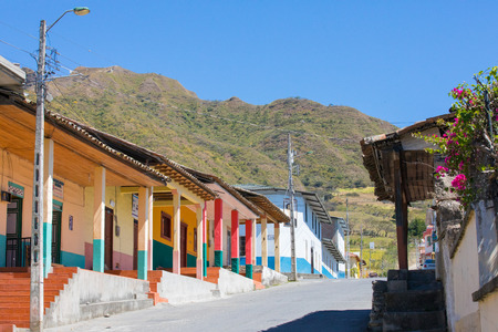 Ecuador June 2018 Small street in Vilcabamba town, in a sunny day. Vilcabamba is appreciated by tourists for its colonial architecture.