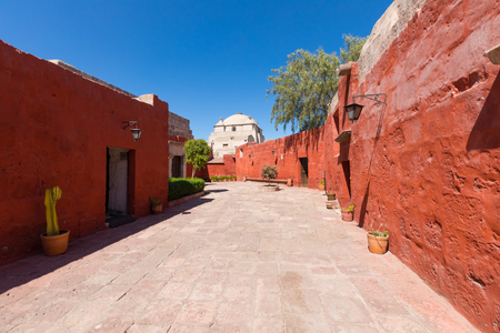 Arequipa Peru August 2018 Santa Catalina monastery, declared a World Heritage Site, welcomes many tourists who are fascinated by the colonial architecture and the splendid colors of the buildings. It is located in the historic center of the city.