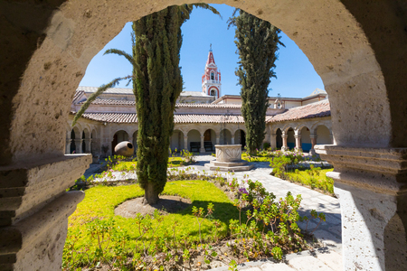 Arequipa Peru September  04 2018  This is the view from the portico of Recoleta Monastery that was used on rainy days by the monks.
