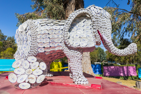 Arequipa Peru August 26, 2018 in the Selva Alegre park in August there is a Chinese food festival and on this occasion there are sculptures like this one.Elephant made with Chinese porcelain. Banque d'images - 113862225