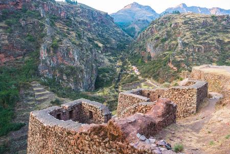 Inca archaeological site of Pizac at sunset Peru