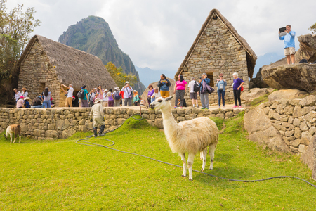 Machu Picchu Peru September 12 2018 every day thousands of tourists from all over the world visit the lost city of Machu Picchu and immortalize it with a smartphone or tablet