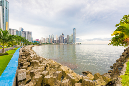 Panama City September 20 2018 the group of skyscrapers that rises in the district of Punta Paitilla in Panama City is located on the peninsula that can be reached along this pedestrian and cycle path called Cinta Costera
