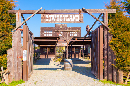 Voghera Italy March 6 2011 in Cowboyland theme park you can visit this typical Far West village. This is the entrance