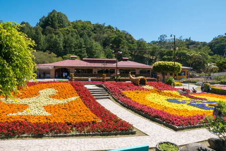 Boquete Panama January 18 2019 this is the main square in the morning of the flowers and coffee fair of Boquete visited every year by local families and tourists