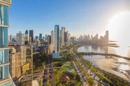 Panama city Panama January 2019  skyline at sunset aerial view of Interamericana, Avenida Balboa and Cinta Costera aerial view. Modern aerea full of commercial activities where richest inhabitants live.